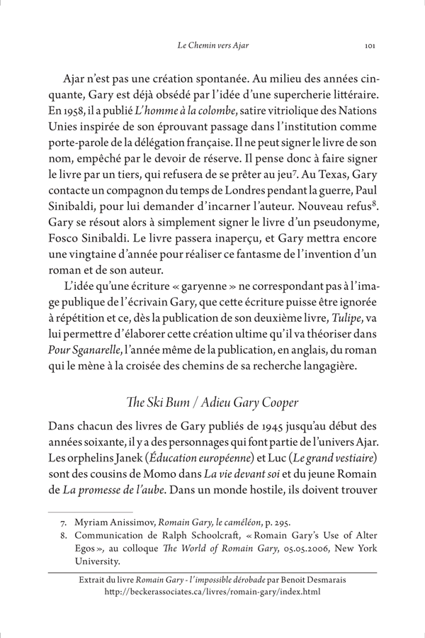 Sample page from Romain Gary: l'impossible dérobade